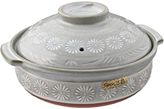 Japanese Hana Mishima Donabe Ceramic Hot Pot Casserole Banko Earthenware Clay Pot for Shabu Shabu Made In Japan (28 fl oz (7