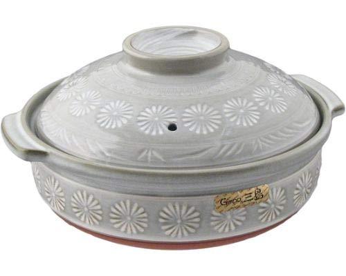Japanese Hana Mishima Donabe Ceramic Hot Pot Casserole Banko Earthenware Clay Pot for Shabu Shabu Made In Japan (28 fl oz (7'D))