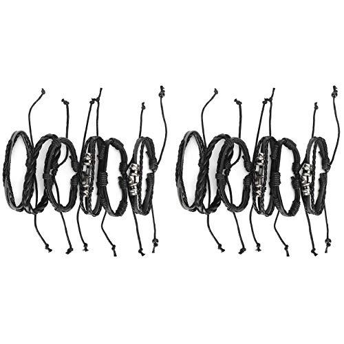 SALALIS Pulsera de Cuero de PU de Acero Inoxidable Grabado 12Pcs Pulseras Tejidas a Mano, Pulsera de Cuero de Acero Inoxidable para Hombre Simple y Elegante