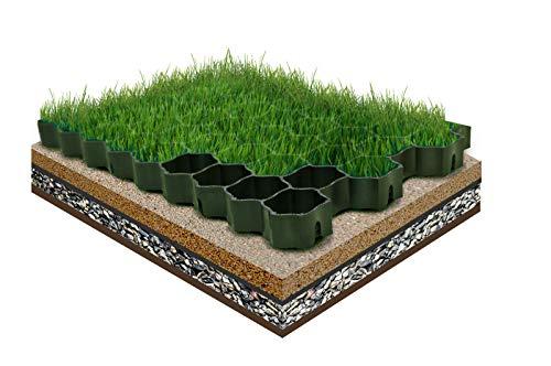 FORTENA befahrbare Rasengitter Platten - 60 x 40 x 4 cm, grün, aus hochrobustem Kunststoff, zur Parkplatzbefestigung, Bodenstabilisierung, Rasenbefestigung, belastbar mit PKW bis zu 1000t/m