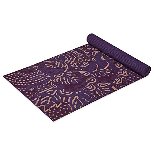 Gaiam Yoga Mat Classic Print Non Slip Exercise & Fitness Mat for All Types of Yoga, Pilates & Floor Workouts, Mulberry Cluster, 4mm