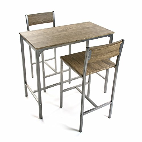 Versa Helena Set de mesa de Comedor y dos sillas Altas, Set de 3 piezas, Medidas (Al x L x An) 87 x 45 x 89 cm, Madera y Metal, Color Marrón