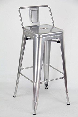 ARREDinITALY - Lot de 4 tabourets hauts empilables en métal style industriel Tolix - Réplique en métal gris métallisé