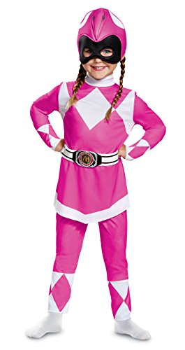 Disguise Pink Ranger Toddler Classic Child Costume, Pink, Medium/(3T-4T)