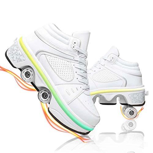 NNZZY Rollschuhe Mädchen, Deformation Quad Rollschuhe Rollschuhe Led Schuhe Mit Rollen Rollschuhe Beleuchtet Turnschuhe Mit Rollen, 7 Farben Einstellbar, Mit USB-Kabel