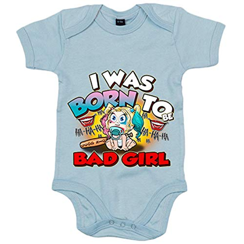 Body bebé I was born to be bad girl parodia Baby Harley Quinn - Celeste, 12-18 meses