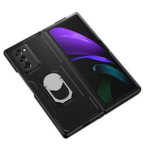 Fundas para Samsung Galaxy Z Fold 2 5G Funda, cuerpo completo, protección antiarañazos, carcasa delgada con soporte para anillo para Galaxy Z Fold 2 5G 2020 (negro)