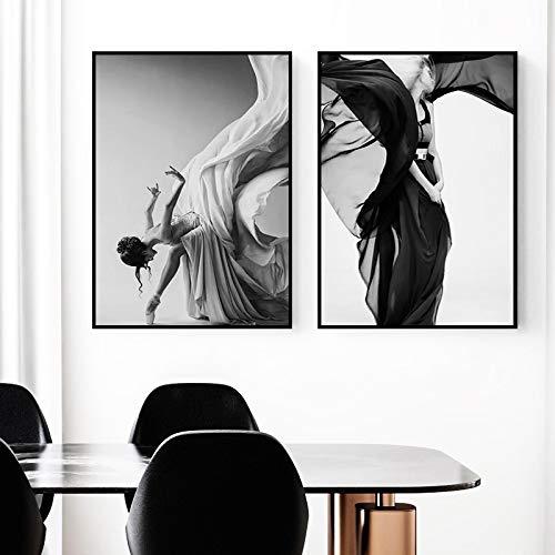 Gymqian Póster e Impresiones de Bailarina de Ballet Moderno, Cuadro de Lienzo, Figura, Cuadros artísticos de Pared en Blanco y Negro para decoración de Sala de Estar, 60x80cmx2 sin Marco