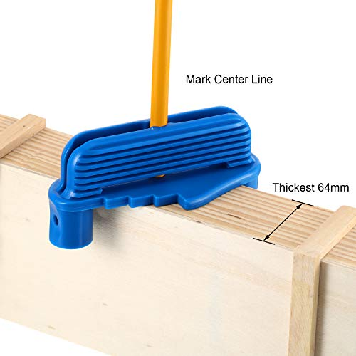Center Scriber Line Scriber Woodworking Marking Offset Marking Tool Marking Center Finder Tool Wood Scribe Marking Gauge Fits Standard Wooden Pencils (2, Blue)