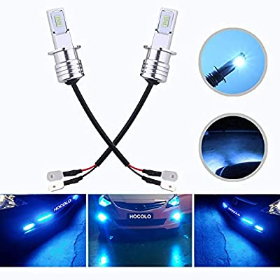 HOCOLO H3 LED Bulbs Ice Blue DRL Fog Driving Light Daytime Running Lamp Replace Halogen 3570 CSP Chips High Brightness Car Vehicle Parts Plug-N-Play Power Brighting Pack 2(H3_Fog/DRL,Ice Blue/8000K)