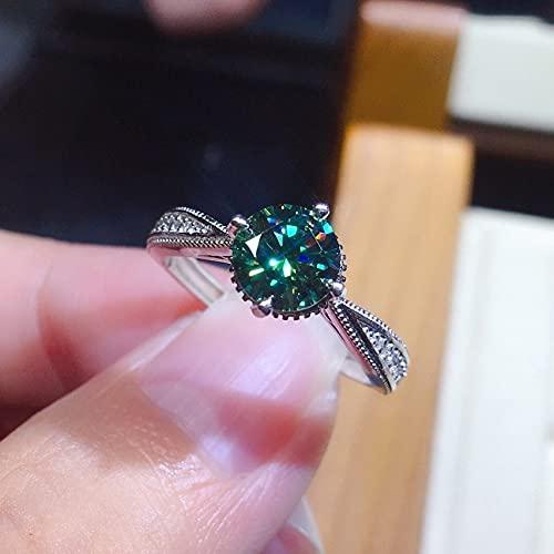 YANGYUE Joyería Fina De Moda Anillos Deámbar Verde Natural para MujeresAnillos De Diamantes De Esmeralda Pura Anillos de Regalo de Piedras Preciosas redimensionables