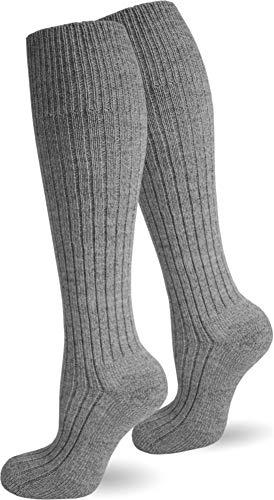 Polar Husky® 3 Paar Original Kniestrümpfe Schafwolle mit Frottesohle Farbe Grau Größe 43/46