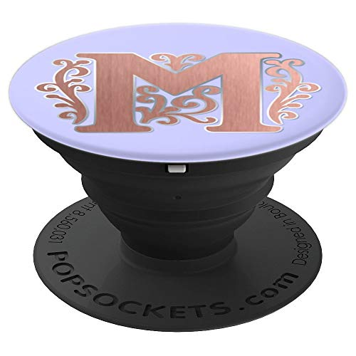 Periwinkle Purple Rose Blush Initial Monogram Letter M PopSockets Grip and Stand for Phones and Tablets
