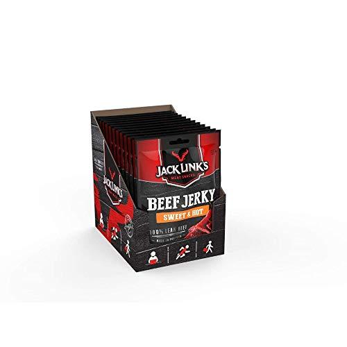 Jack Links Beef Jerky Sweet & Hot – 12er Pack (12 x 25 g) – Proteinreiches Trockenfleisch vom Rind – Getrocknetes High Protein Dörrfleisch