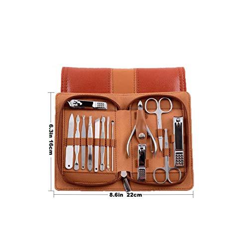 HenLooo Manicure Pedicure Set Nail Clippers Strumento 14pcs Professionale in Acciaio Inox Portatile Kit da Viaggio per la Cura delle Unghie Nail Forbici Kit Uomo Donna