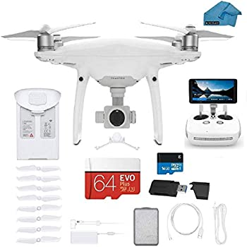 DJI Phantom 4 PRO Plus V2.0 Quadcopter Drone with 1-inch 20MP 4K Camera KIT with Built in Monitor 64 GB Micro SDXC Card Reader 3.0 and Must Have Accessories