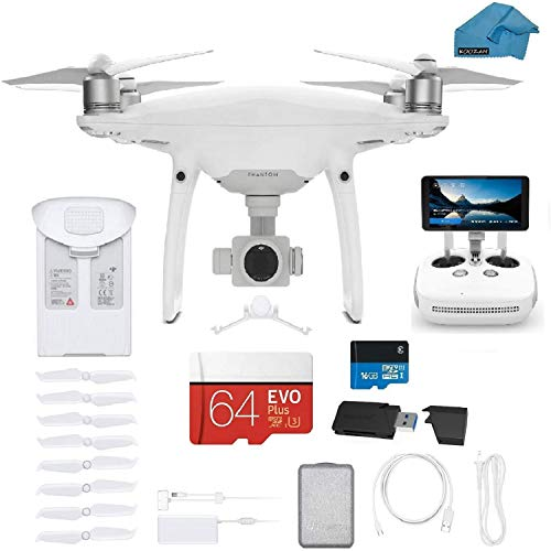 DJI Phantom 4 PRO Plus V2.0 Quadcopter Drone with 1-inch 20MP 4K Camera KIT with Built in Monitor, 64 GB Micro SDXC Card, Reader 3.0 and Must Have Accessories
