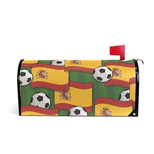 prz0vprz0v Spanje Voetbal Patroon Beide Zijkanten 21 x 18 Inch Waterdichte Canvas Mailbox Coveres Standaard Grootte Magnetische Mailbox Cover