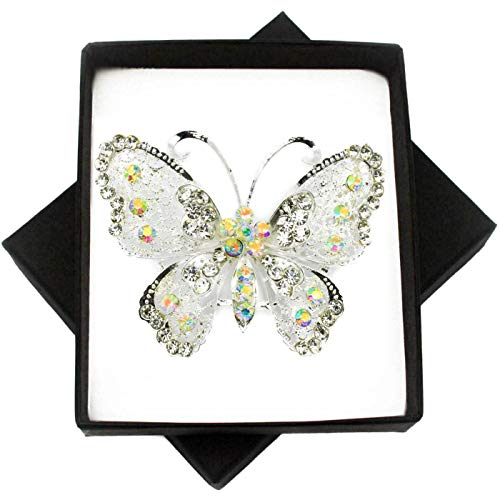 New Plain Crystal Silver Large Butterfly Brooch PIN for Women in Black Presentation Box from UK Seller