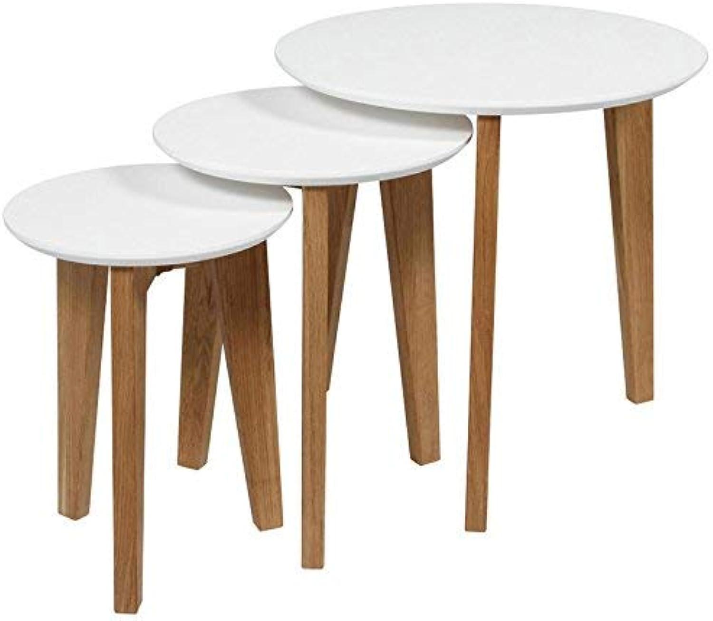 AC Design Furniture Satz mit Tischen Ricky, B  50 x T 50 x H  50 cm, MDF, Weiss