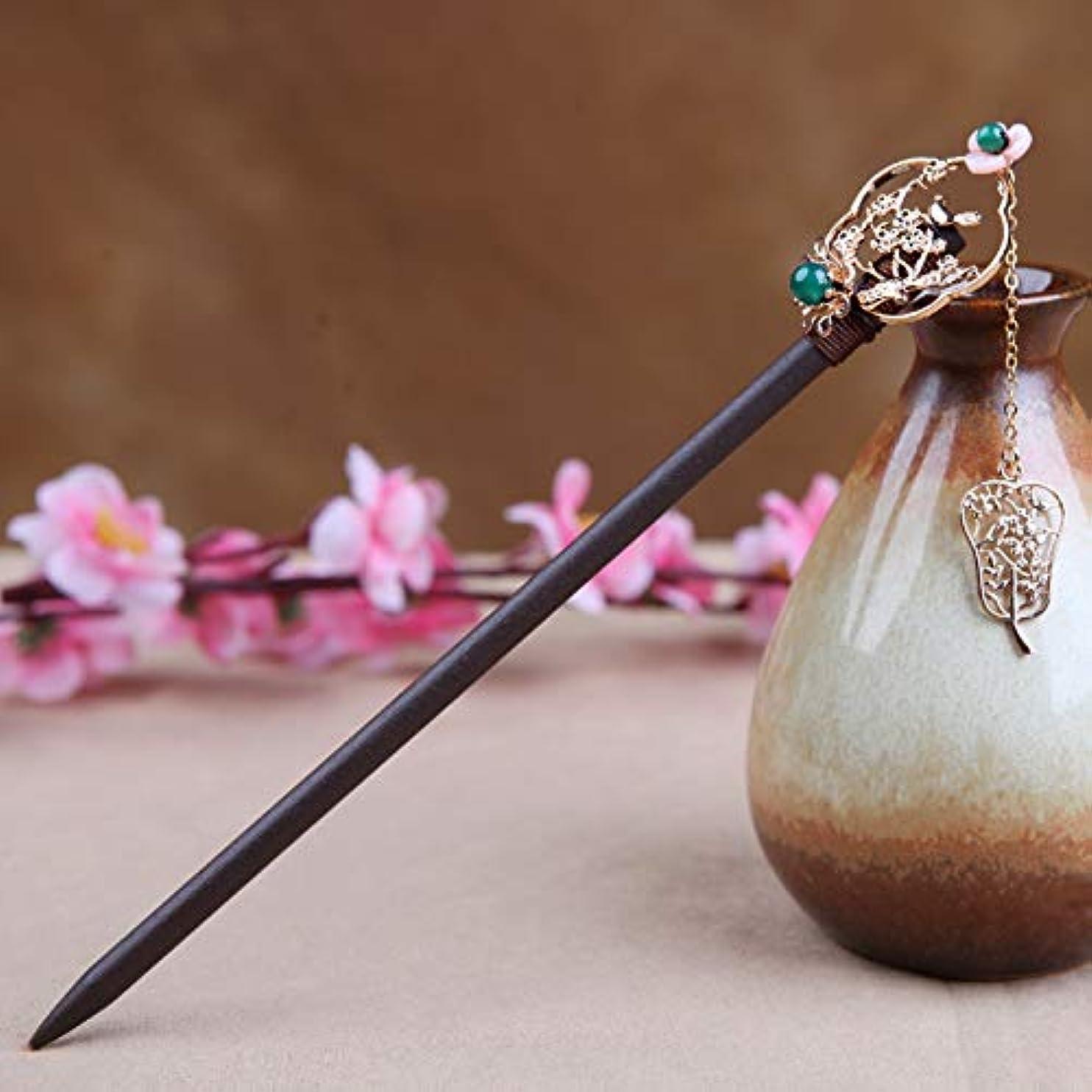 ほのか不条理害HuaQingPiJu-JP ヴィンテージパレス手作りヘアピン中国のスタイルのヘアクリップヘッドウェア(ゴールド)