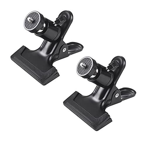 2 Stück Kamera Blitz Halterung 360 Grad Kamera Klammer Halter Ständer Stativschelle Montage Klemmstativ Blitzschiene mit 1/4' Gewinde Kugelkopf für...