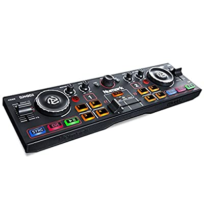 Numark DJ2GO2 | Ultra Portable Two Channel DJ Controller for Serato DJ Intro Featuring A Built In Audio Interface With Headphone Cueing, Pad Performance Controls, Crossfader and Jogwheel by inMusic Brands Inc.