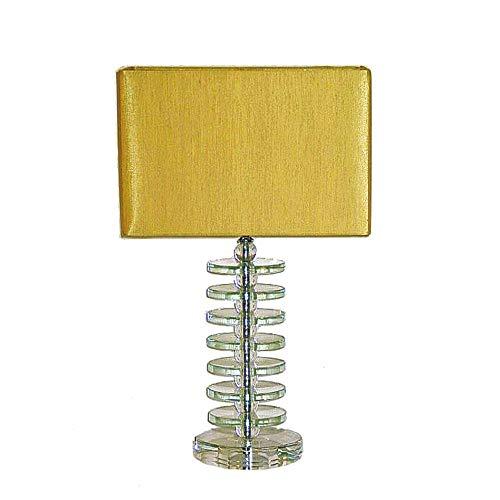 Dapo Tischleuchte-Lampe Kristallfuß Seiden - Stoffschirm, Kristallleuchte Tischlampe (klar-Gold, Reka 51 cm)