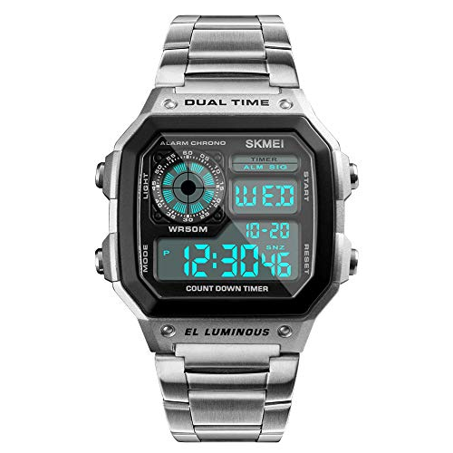 SKMEI Wrist Watch for Men, Digital Sports Waterproof Watch with Dual Time Chronograph Countdown Alarm Backlight