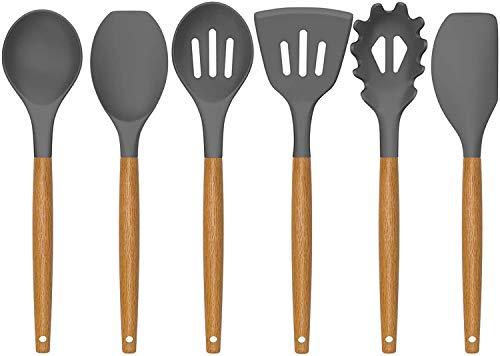 AIKKIL Küchen Kochutensilien Set, 7-teiliges Silikon Utensilien Set mit Holzgriff, Antihaft hitzebeständiges Silikon Küchengerät für Kochgeschirr (Grau)