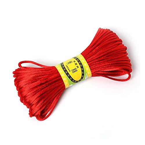 20meter 2mm Rattail Satinado Chino anuda Macrame cordón del Bordado de Hilo de Coser Hilo Dental artesanía Herramienta de Punto de del cordón (Color : Rojo)