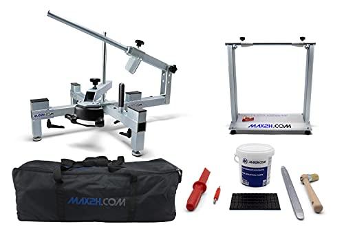 MAX2H.COM Motorrad Reifenmontiergerät/Reifenmontiermaschine EVO2 für 12-21 Zoll + Wuchtbock + Starterpaket + Tasche (Klebegewichte: Schwarz
