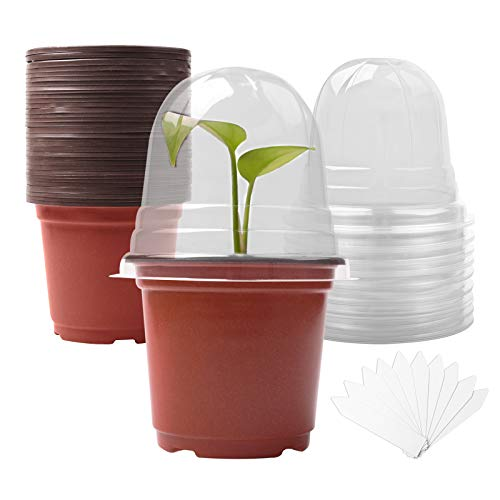 Plant Nursery Pots with Humidity Domes (30 pots + 30 Transparent lids), 30 Sets 4 Inch Soft Nursery Pots, Seed Starting Pots Small Starter Seed Starting Trays with Drain Holes with 10 Plant Labels