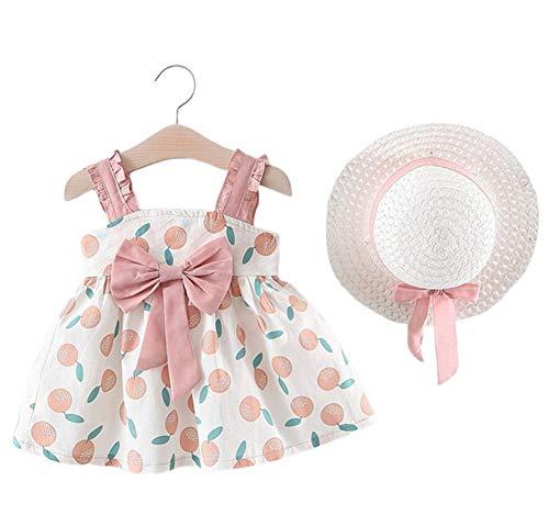 Changchang Baby Mädchen Prinzessin Outfit Set Ärmellos Rüschen Kleid mit Sonnenhut Kleinkind Sommer Kleidung Set für 0–18 Monate Gr. 86, rose