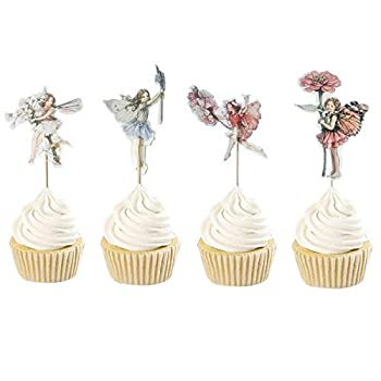 48PCS Pretty Fairy Cupcake Toppers for Kids Birthday Party Cake Decoration