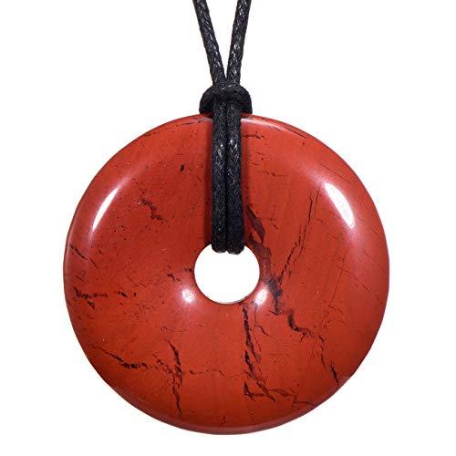 Morella Collane da Donna 80 cm con Pendenti di Pietre preziose a Forma di Ciambella Donut Diaspro Rosso in Sacchetto di Velluto