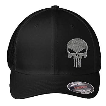 Punisher Hat | Custom Embroidered Punisher Skull FlexFit Hat | Military Skull Fitted Hat