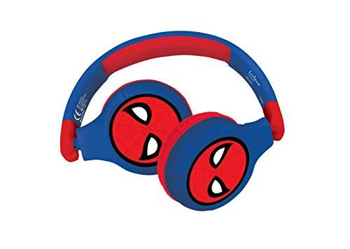 Lexibook- Spiderman-Casque Audio Enfant 2-en-1 Bluetooth Stéréo, sans Fil, Filaire, Son limité, Pliable, Ajustable, Fille/garçon, Rouge/Bleu, HPBT010SP
