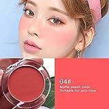 Teyun 6 Colores Sombras de Ojos Rubor Paleta Cara Mineral Pigmento mejilla Blusher Polvo Monocromo Maquillaje portátil Profesional Contorno tslm1 (Color : D)