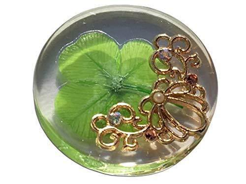 KIN-HEBI Vero Trifoglio a Quattro Foglie, gettone Tascabile di buona Fortuna, conservato, 3,2 cm (Incluso Ornamento Metallico Marine Shell)