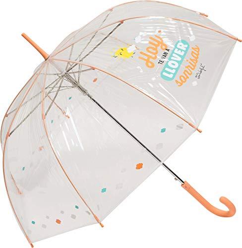 Paraguas Largo Transparente Mr. Wonderful Hoy te Van a llover Sonrisas Salmón