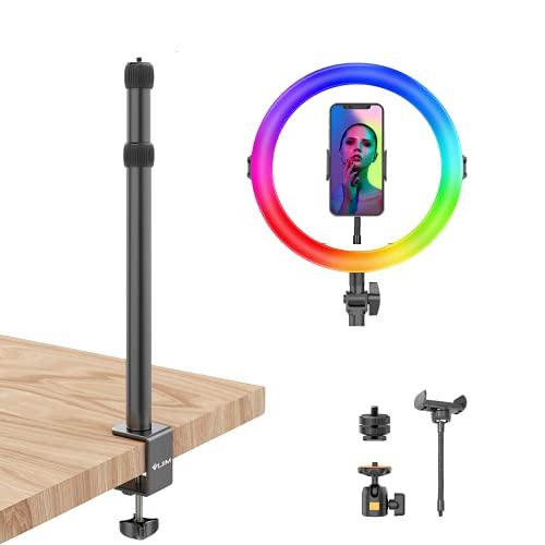 Ulanzi Anillo de luz LED 24 RGB Color, 11' Anillo de Luz LED Fotográfica de Escritorio con Control Remoto+Regulable 3200-6500K Altura Ajustable para Teléfono Selfie, TikTok, Youtube Video, Maquillaje