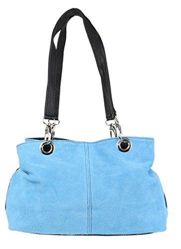 Girly Handbags Italienische Wildleder-Umhängetasche (hellblau)