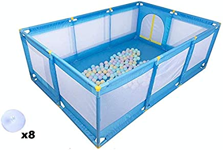 Playpens Large Portable Baby Indoor Outdoor Boys Girls Safety Play Center Yard  Folded Toddlers Home Activity Area Fence  Blue  color Without Crawling Mat