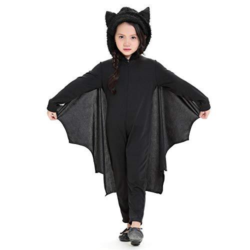 Fledermaus Vampir Kostüme Cosplay Kostüm für Jungen Mädchen Overall Halloween Cosplay Kostüm mit Kapuze und Handschuhe für Kinder Kind Verschiedene Anlässe