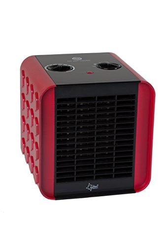 SUNTEC PTC Heizlüfter Heat Block - Leiser Elektroheizer, 1500 Watt | Elektro-Heizung 3 Heizstufen | Rot / Schwarze Elektroheizung | Elektrischer Wärmeheizer für Schlafzimmer, Wohnzimmer