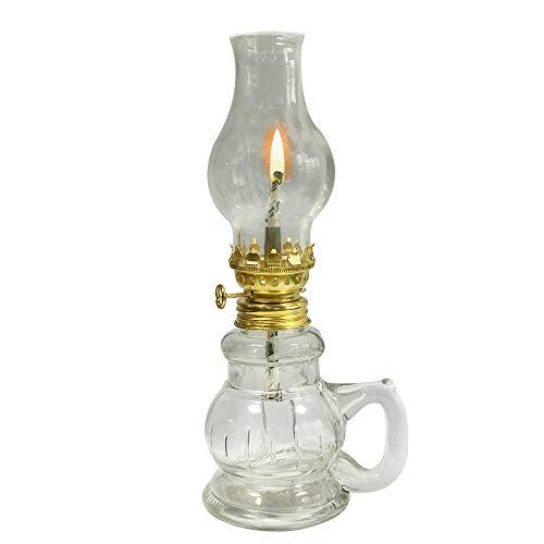 YFYW Glass Kerosene Oil Lamp,Vintage Antique Cole Oil Lamp, Transparent Desktop Oil Lamps For Indoor Use Emergency(19cm)