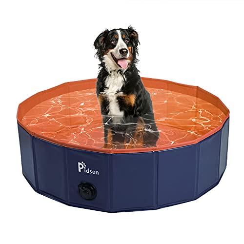 Pidsen Hundepool fur Große Hunde Swimmingpool PVC tragbare Faltbare Hunde Katzen Bad Wanne Badewanne Waschbad Haustier Schwimmbad Wasser Teich (100 * 30cm, Orange)