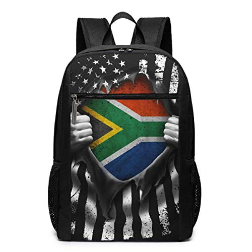 Lawenp South African American Flag Unisex Backpacks 17 Inch School Bookbag Shoulder Bag Casual Daypack Laptop Bag South African American Flag