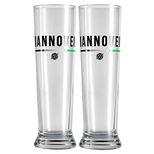 Hannover 96 Bierglas, Pilsglas, Pilsstange 2er Set H96 - Plus Lesezeichen I Love Hannover